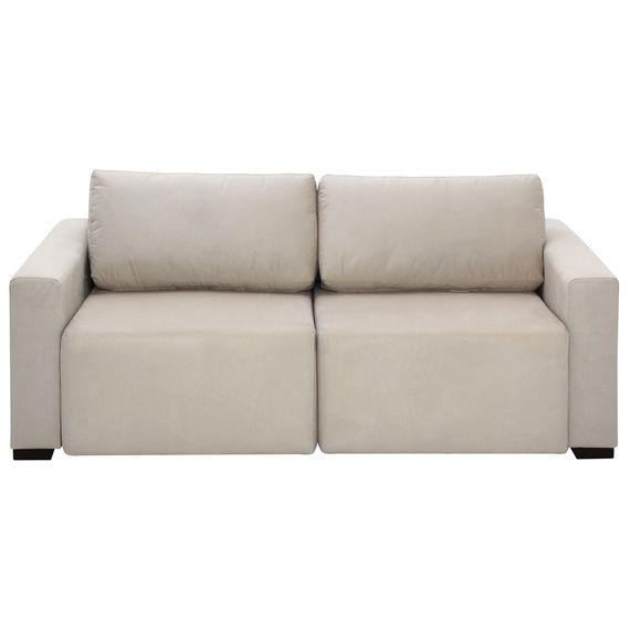 Sofa Retratil 3 Lugares Suede Bege Prosa Tok Stok M