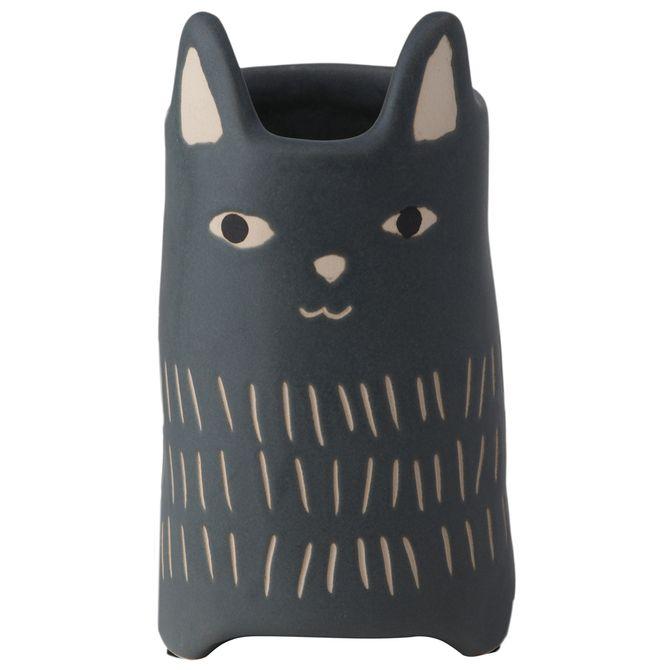Cutie-Kitty-Vaso-18-Cm-Preto-bege-Cuttie-Kitty