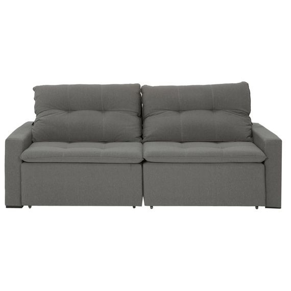 Sofa Retratil 3 Lugares Reci Cinza Oasis Tok Stok M