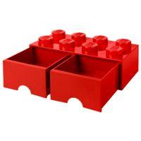 Bloco-Organizador-50-Cm-C-2-Gavetas-Vermelho-Lego