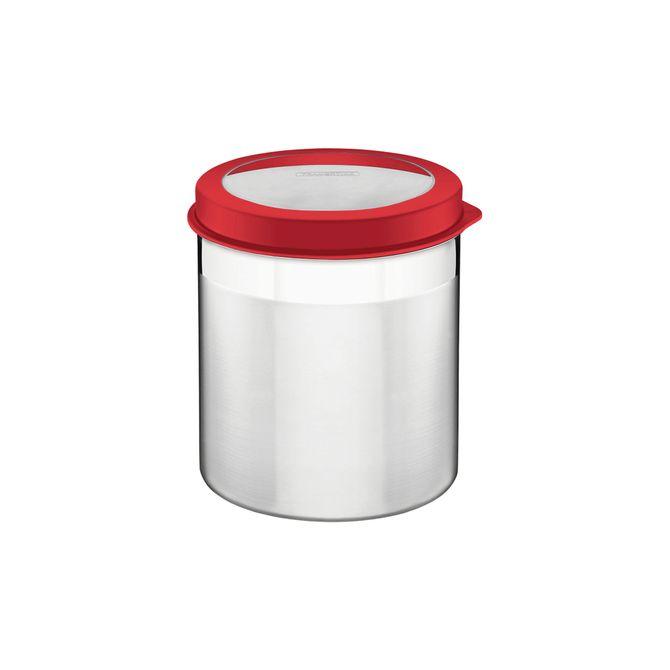 Pote-Tramontina--Em-Aco-Inox-Com-Tampa-Plastica-Vermelha-E-Visor-185-Cm-52-L-Vermelho-Cucina