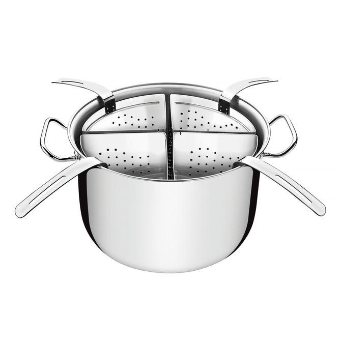 Cozi-pasta-Tramontina--Em-Aco-Inox-Com-4-Divisorias-30-Cm-135-L-Inox-Professional