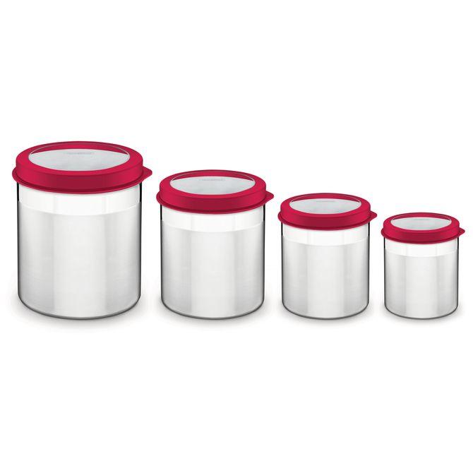 Jogo-De-Potes-Tramontina--Em-Aco-Inox-Tampa-Plastica-Vermelha-Com-Visor-4-Pecas-Vermelho-Cucina