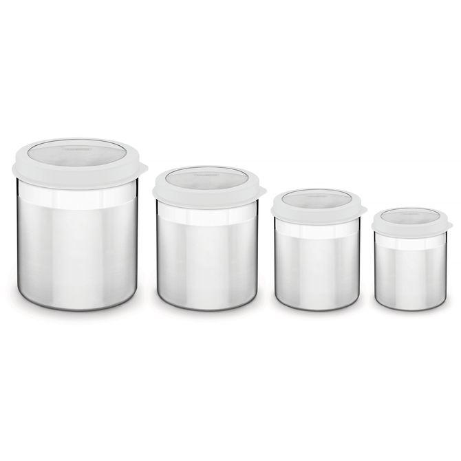 Jogo-De-Potes-Tramontina--Em-Aco-Inox-Tampa-Plastica-Branca-Com-Visor-4-Pecas-Inox-Cucina