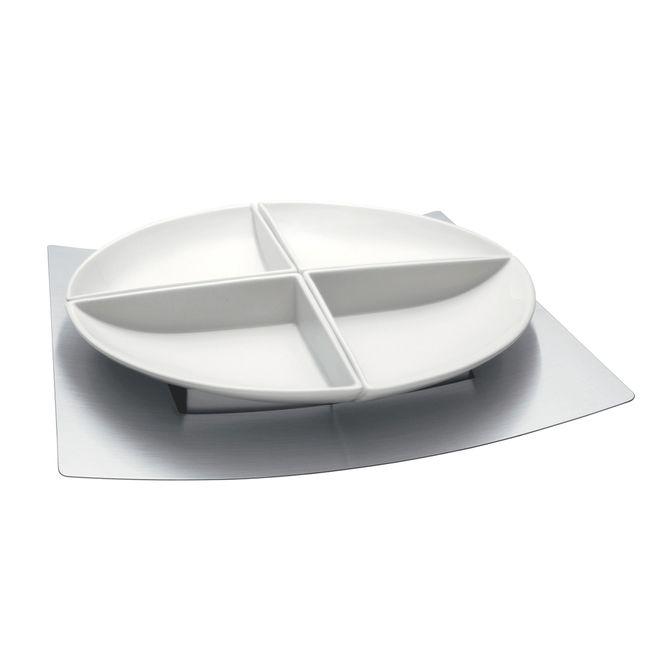 Jogo-Para-Petiscos-Tramontina-Em-Porcelana-Com-Base-Em-Aco-Inox-5-Pecas-Inox-Germany