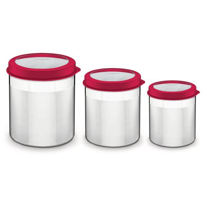 Jogo-De-Potes-Tramontina--Em-Aco-Inox-Tampa-Plastica-Vermelha-Com-Visor-3-Pecas-Vermelho-Cucina