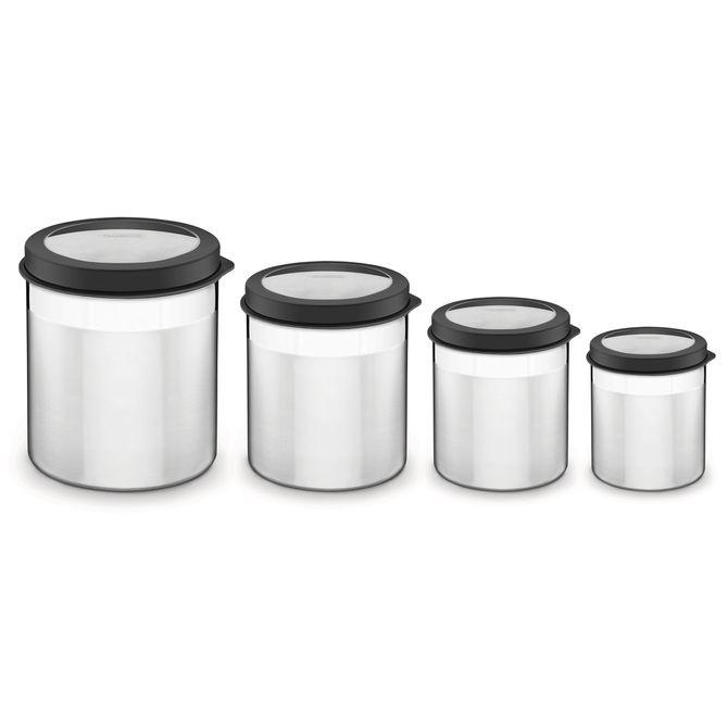Jogo-De-Potes-Tramontina--Em-Aco-Inox-Tampa-Plastica-Preta-Com-Visor-4-Pecas-Preto-Cucina