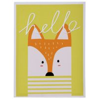 Fox-Quadro-30-Cm-X-40-Cm-Branco-multicor-Hello-Friends