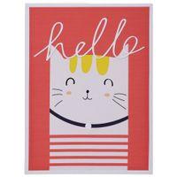 Cat-Quadro-30-Cm-X-40-Cm-Branco-multicor-Hello-Friends