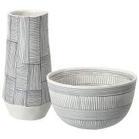 Vaso-Decorativo-27-Cm-Branco-preto-Burkina-Faso