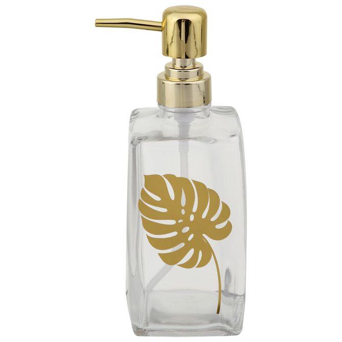 Porta-sabonete-Liquido-Incolor-dourado-Golden-Leaf