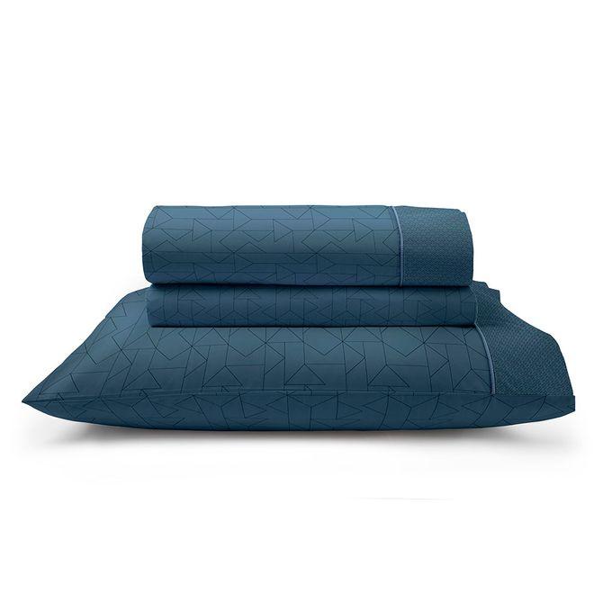Jogo-De-Cama-Energy-Solteiro-160-Cm-X-247-Cm-Artex-Azul-Escuro-Total-Mix-Clean