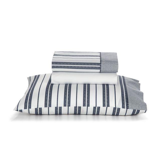 Jogo-De-Cama-Arpoador-Casal-220-Cm-X-247-Cm-Artex-Branco-azul-Escuro-Total-Mix-Clean