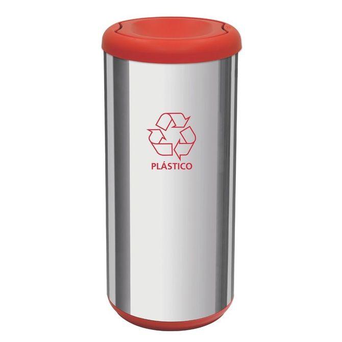Lixeira-Inox-Tramontina-Capsula-Selecta-Plus-Basculante-Com-Acabamento-Polido-E-Tampa-Basculante-Vermelha-40-L-Cromado-vermelho-Lar