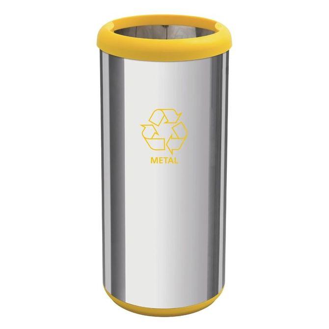 Lixeira-Inox-Tramontina-Capsula-Selecta-Plus-Com-Acabamento-Polido-E-Aro-E-Base-Amarela-Em-Polipropileno-40-L-Cromado-amarelo-Lar