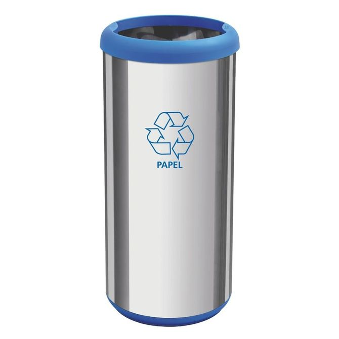 Lixeira-Inox-Tramontina-Capsula-Selecta-Plus-Com-Acabamento-Polido-E-Aro-E-Base-Azul-Em-Polipropileno-40-L-Cromado-azul-Lar