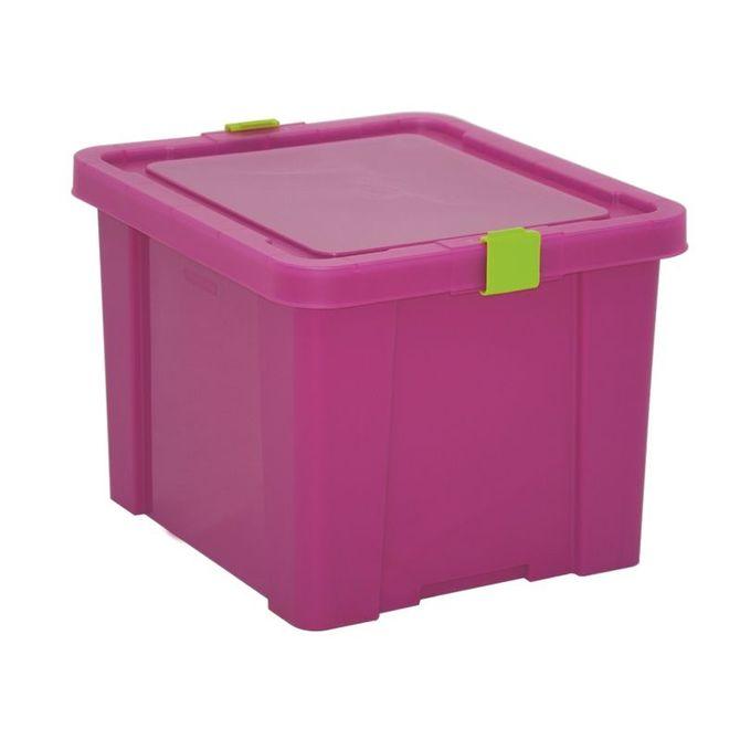 Caixa-Organizadora-Tramontina--Com-Tampa-Em-Plastico-Pink-30-L-Fucsia-Basic