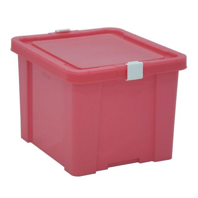 Caixa-Organizadora-Tramontina--Com-Tampa-Em-Plastico-Rosa-30-L-Flamingo-Basic