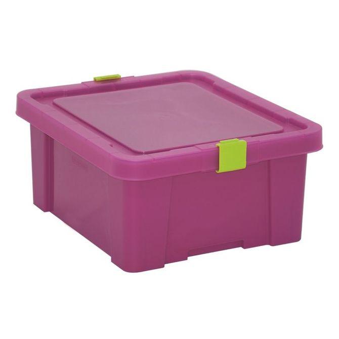 Caixa-Organizadora-Tramontina--Com-Tampa-Em-Plastico-Pink-17-L-Fucsia-Basic