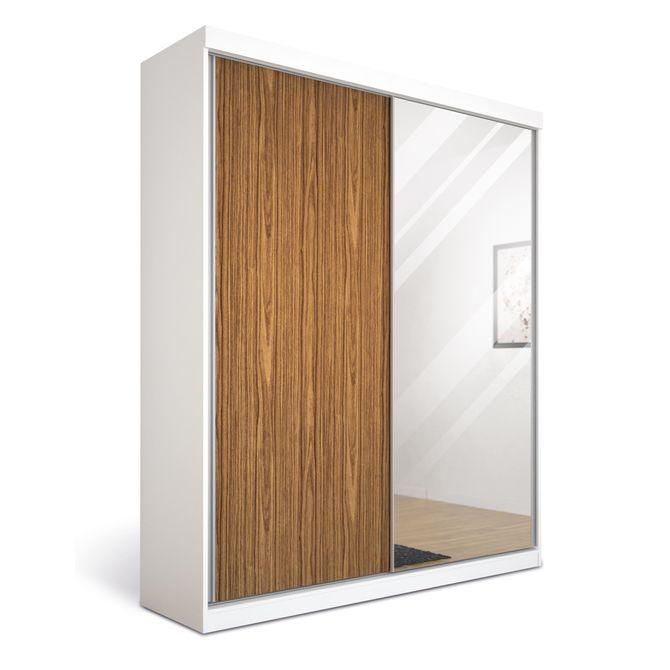Guarda-roupa--2-Portas-Com-Espelho-Branco-nogueira-Premium