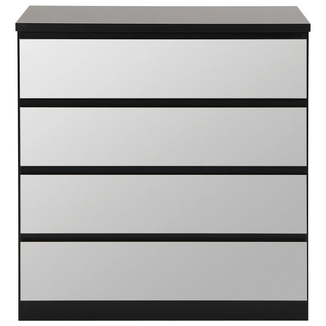 Comoda-4gv-90x45-Preto-prata-Mince