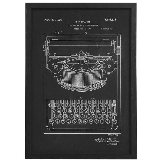 Typewriter-Quadro-30-Cm-X-42-Cm-Preto-branco-Behind