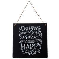 Placa-Dec-28-Cm-X-28-Cm-Preto-branco-Makes-You-Happy