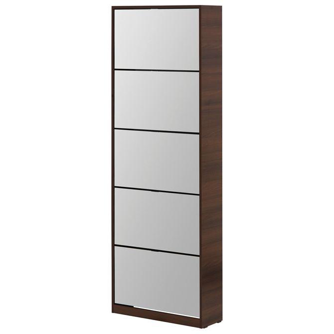 Wood-Mirror-Sapateira-Parede-5p-Nozes-prata-Family