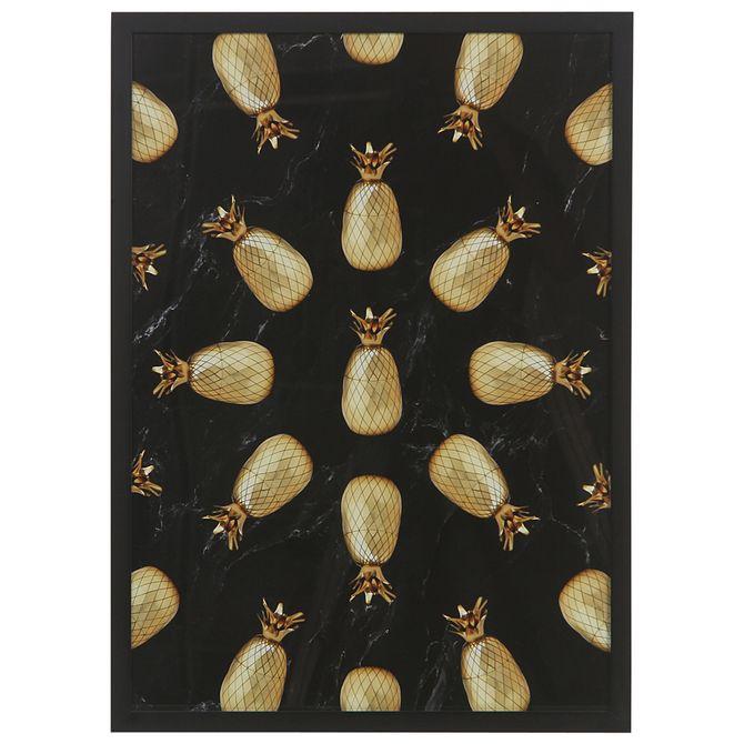 Pluri-Quadro-53-Cm-X-73-Cm-Preto-ouro-Pineapple