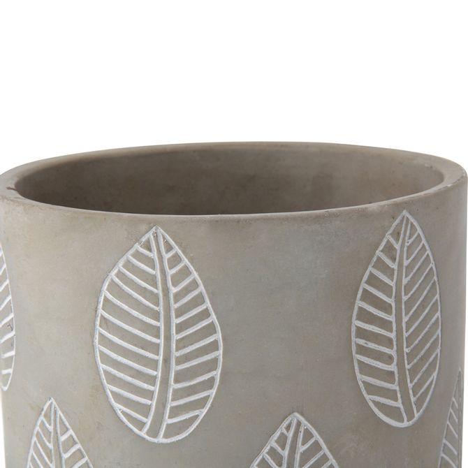 Leaves-Cachepo-14-Cm-Konkret-branco-Beton