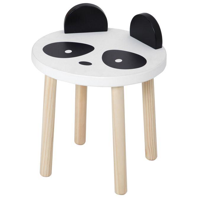Panda-Banco-Infantil-Natural-Washed-preto-Animals