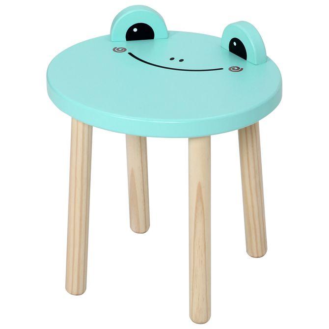 Frog-Banco-Infantil-Natural-Washed-menta-Animals