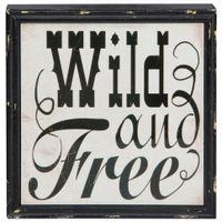 Placa-Decor-23x23-2vrd-Preto-branco-We-Are-Wild