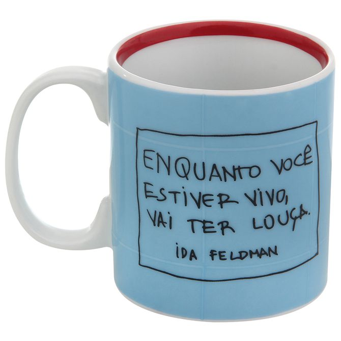 Ida---Vai-Ter-Louca-Caneca-300-Ml-Azul-Claro-vermelho-Reflexoes-Da-Ida-Feldman